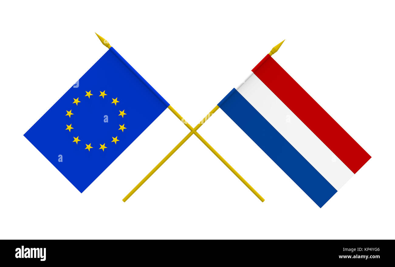 Flags, Netherlands and European Union - Stock Image