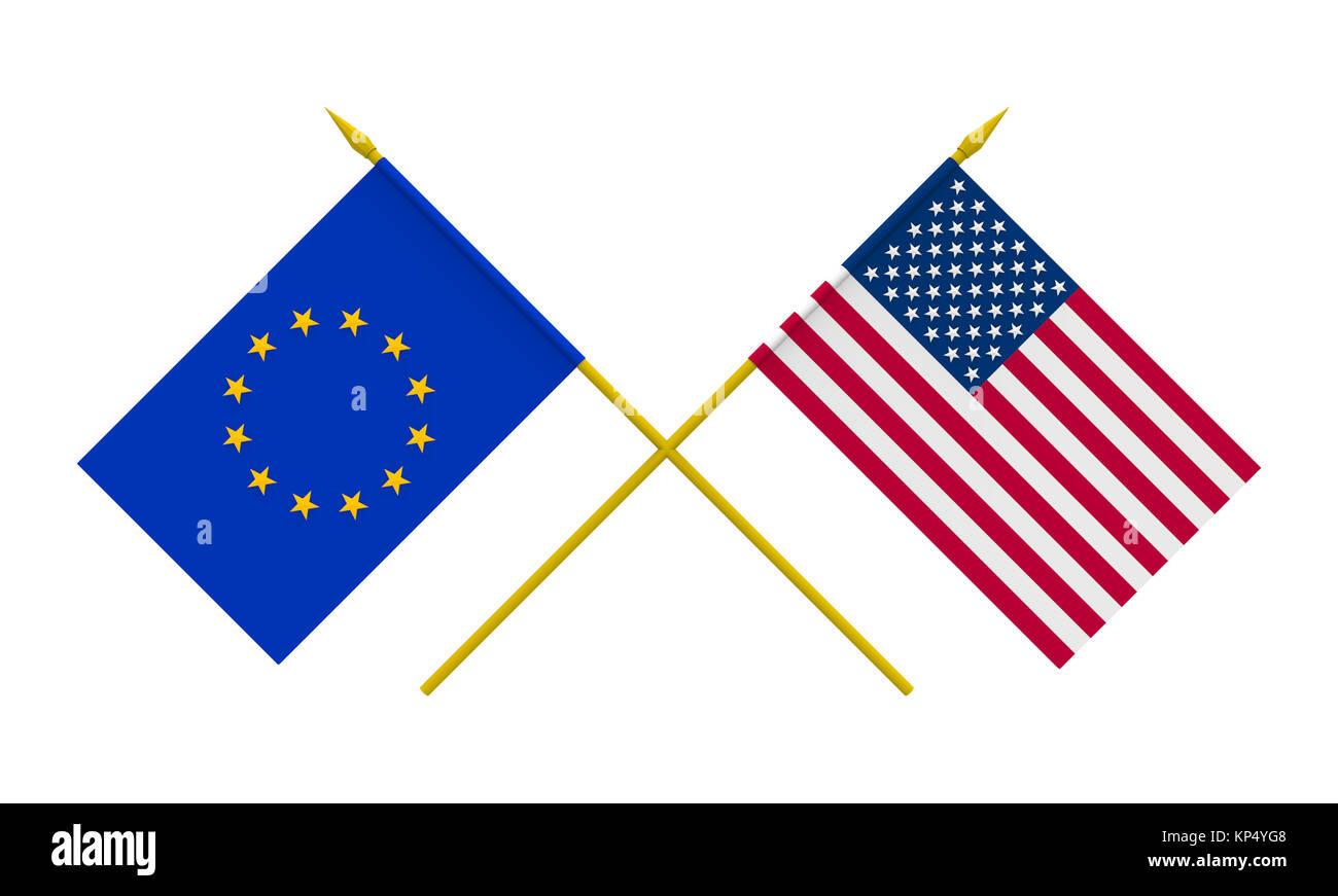 Flags, USA and European Union - Stock Image