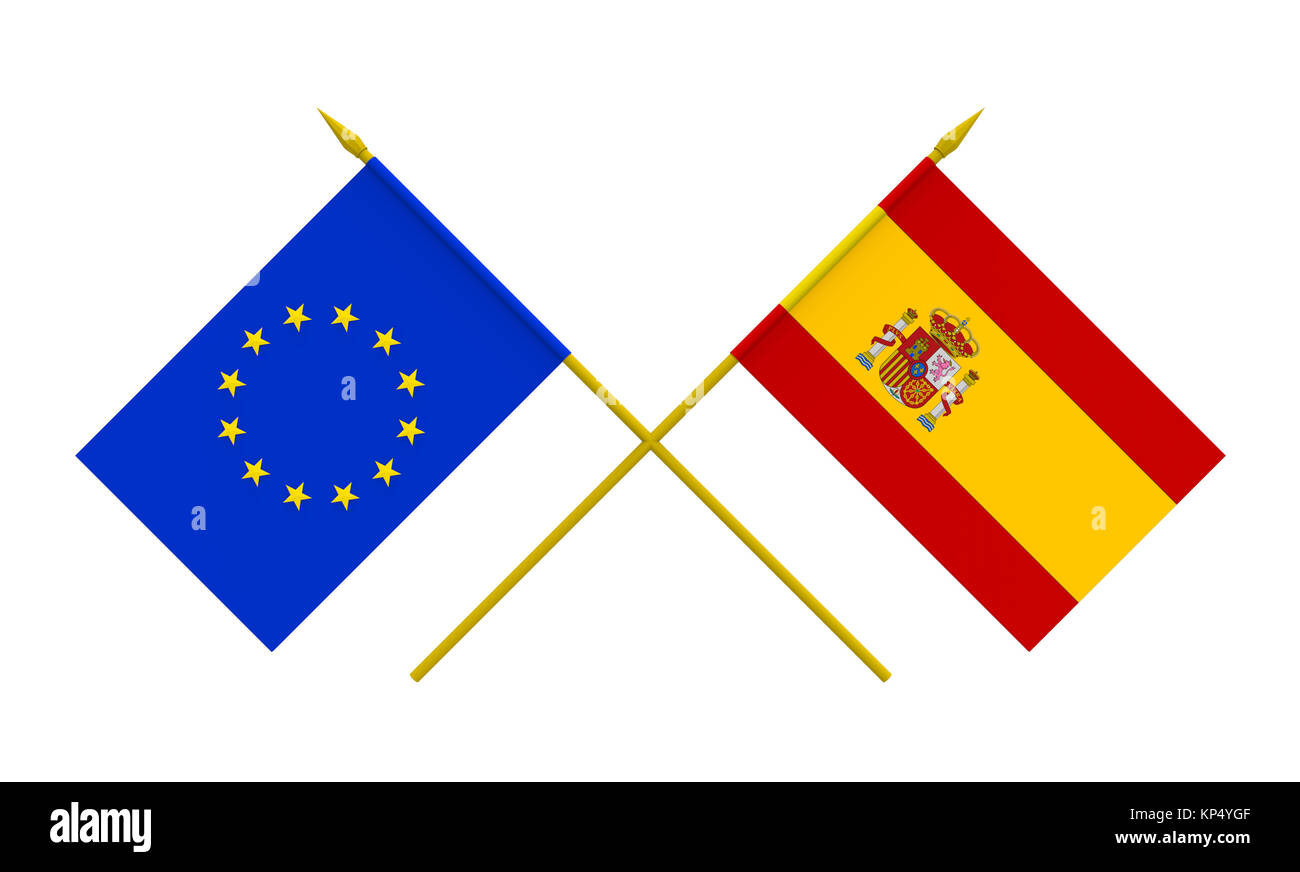 Flags, Spain and European Union - Stock Image