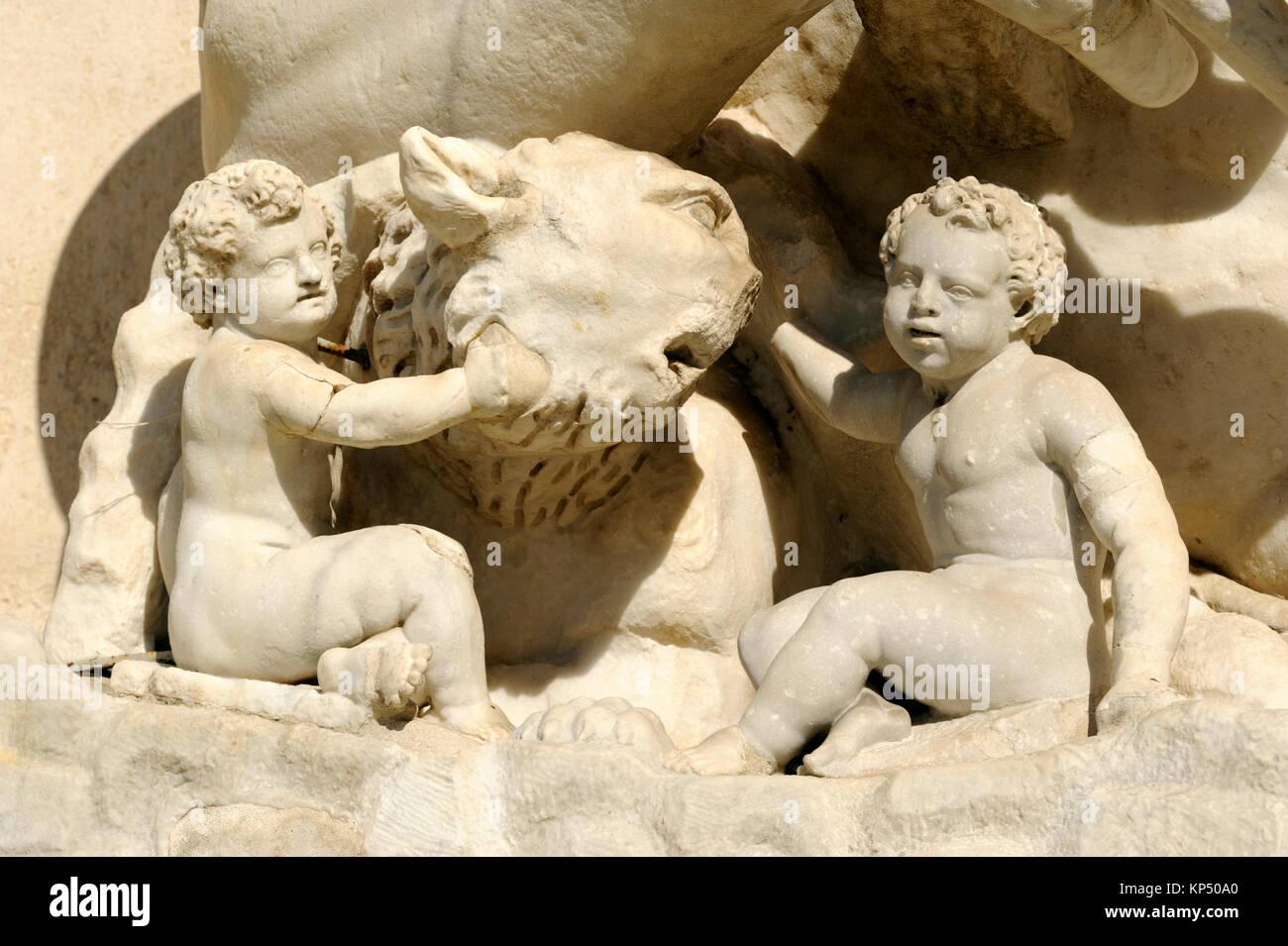italy, rome, campidoglio, roman statue of the tiber river, romulus and remus - Stock Image