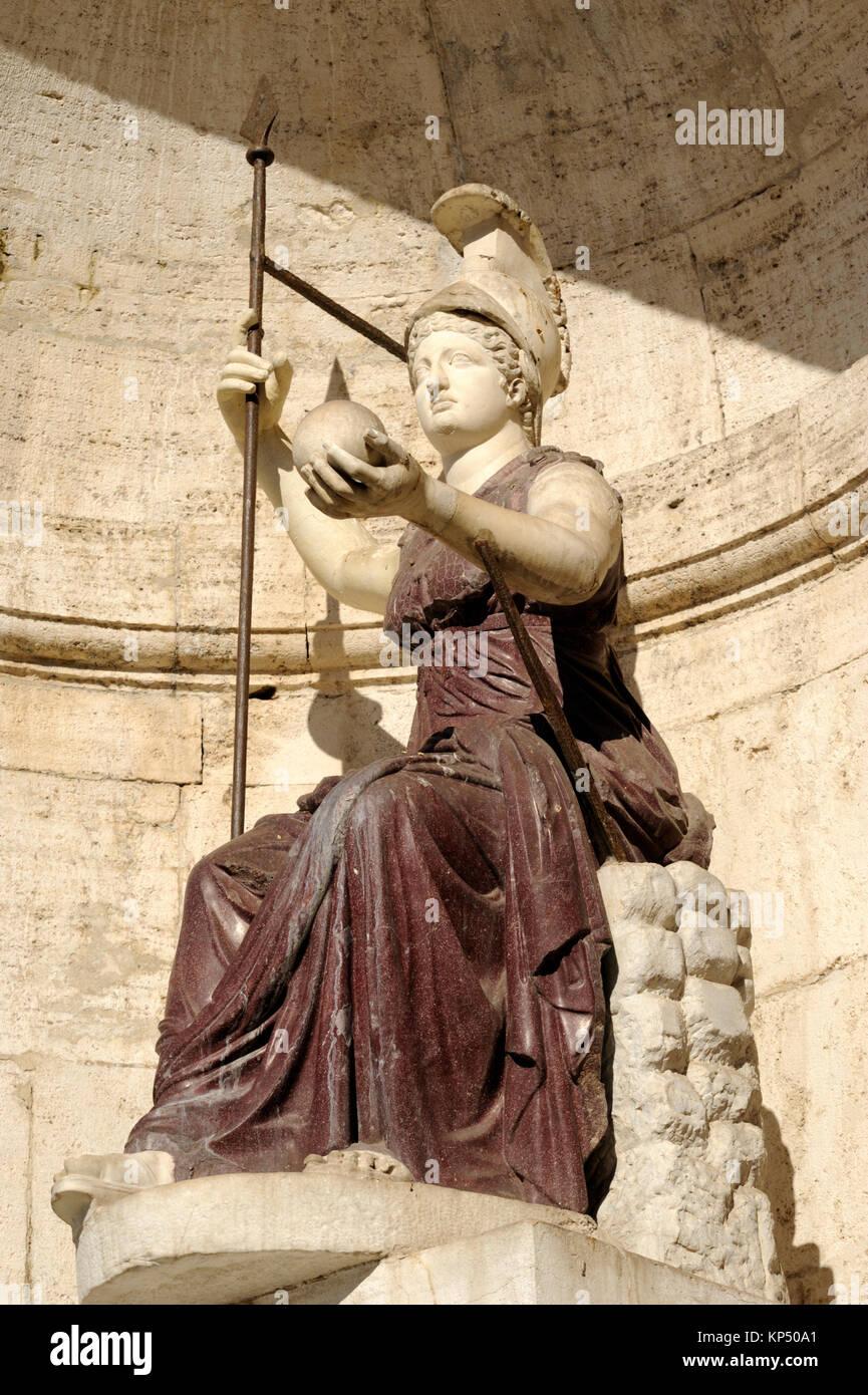 italy, rome, piazza del campidoglio, palazzo senatorio, statue of minerva roman goddess (1st century AD) - Stock Image