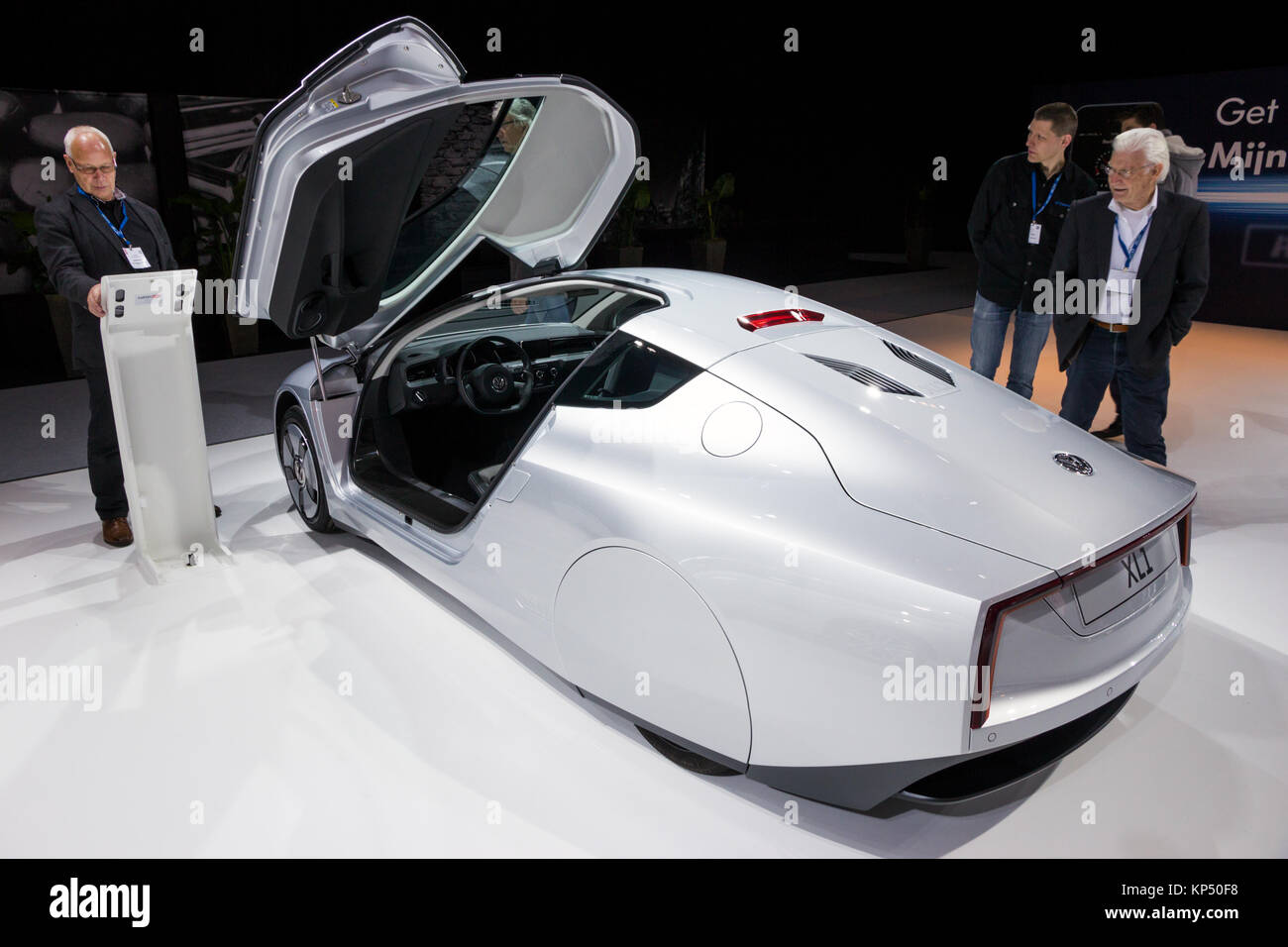 AMSTERDAM - APR 16, 2015: Volkswagen XL1 two-person limited production diesel-powered plug-in hybrid car at the - Stock Image