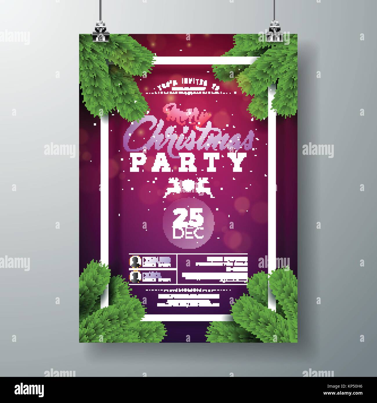 vector christmas party flyer design with holiday typography elements and pine branch on violet background premium celebration poster illustration for your