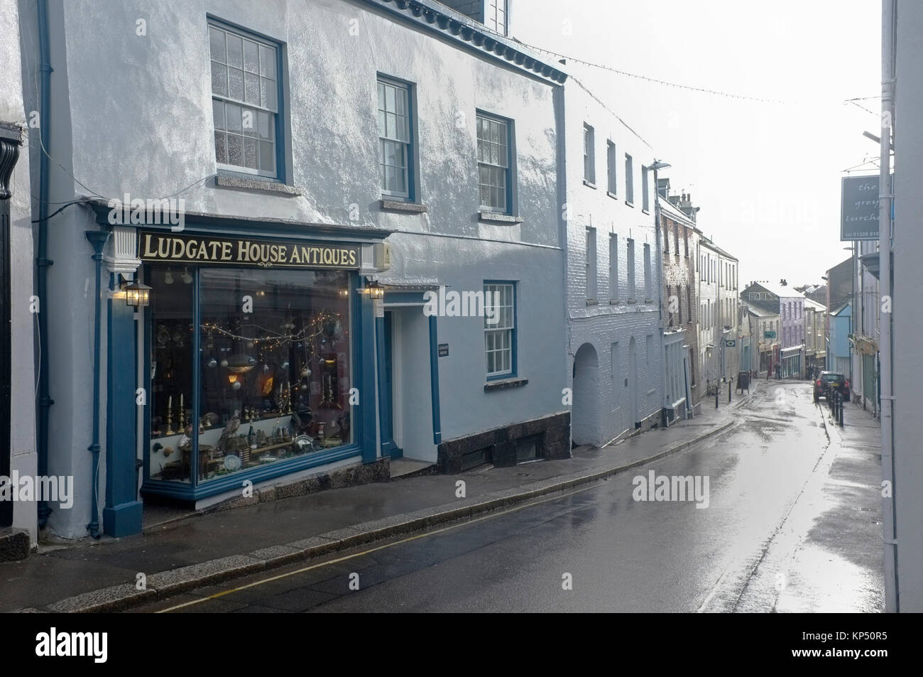 Wet Falmouth, empty street. - Stock Image