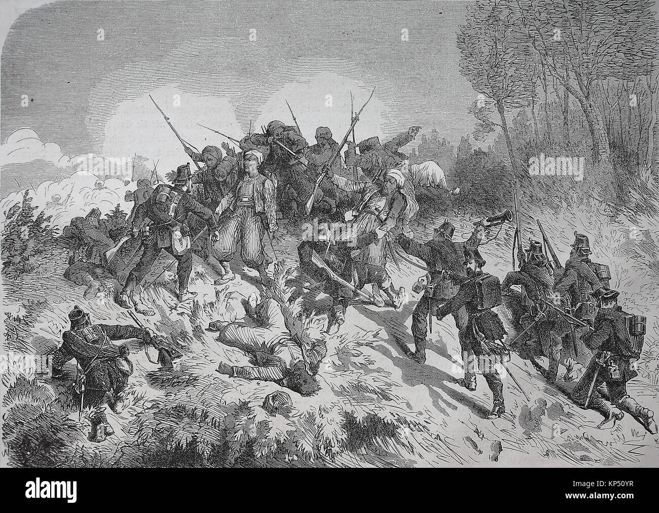 Capture of Turcos by North German riflemen, fighter near Woerth, France 1870/1871, time of the Franco-Prussian War - Stock Image