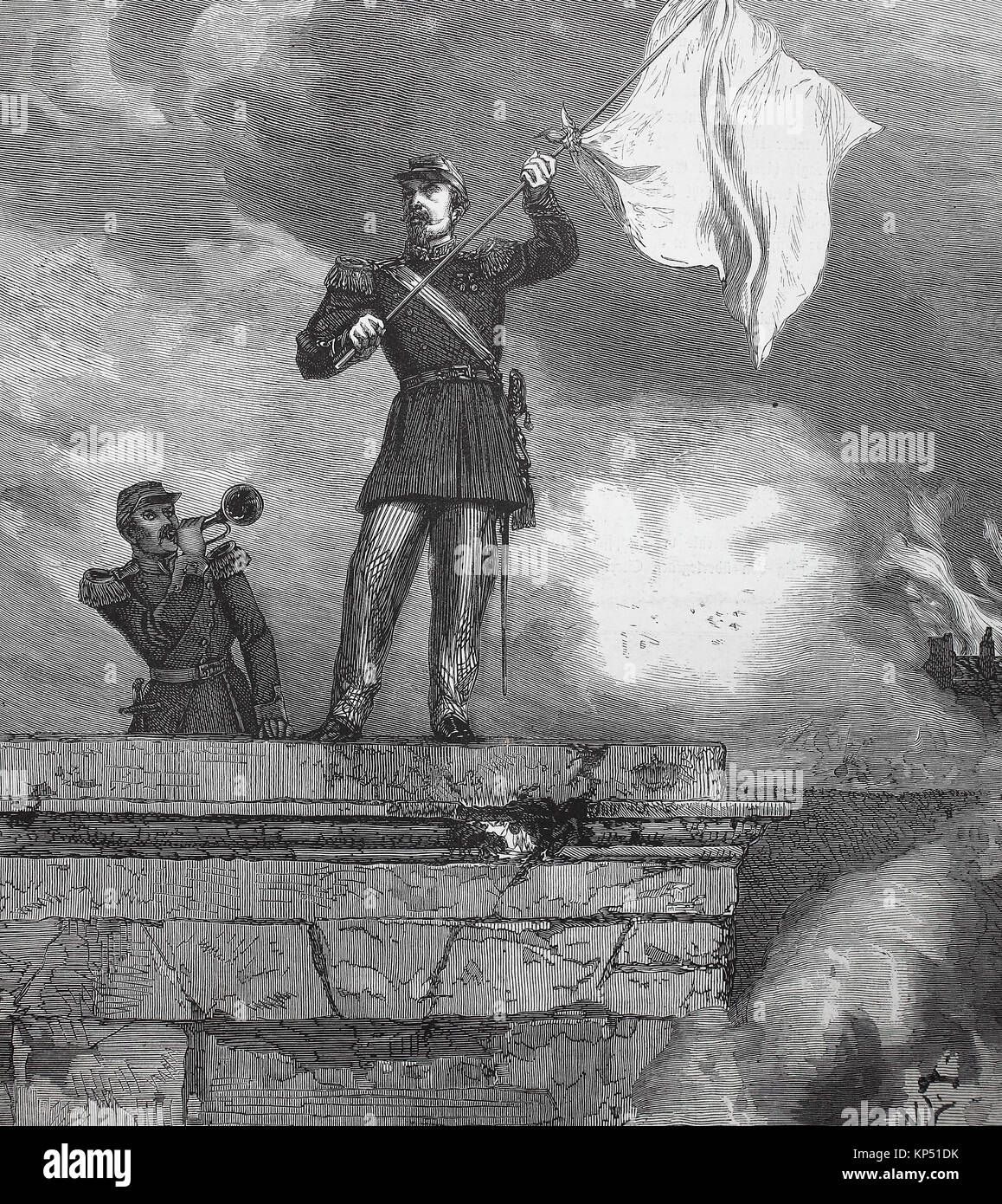General Lauriston as a parliamentarian with white flag on the gates of Sedan, France, German-French campaign of - Stock Image