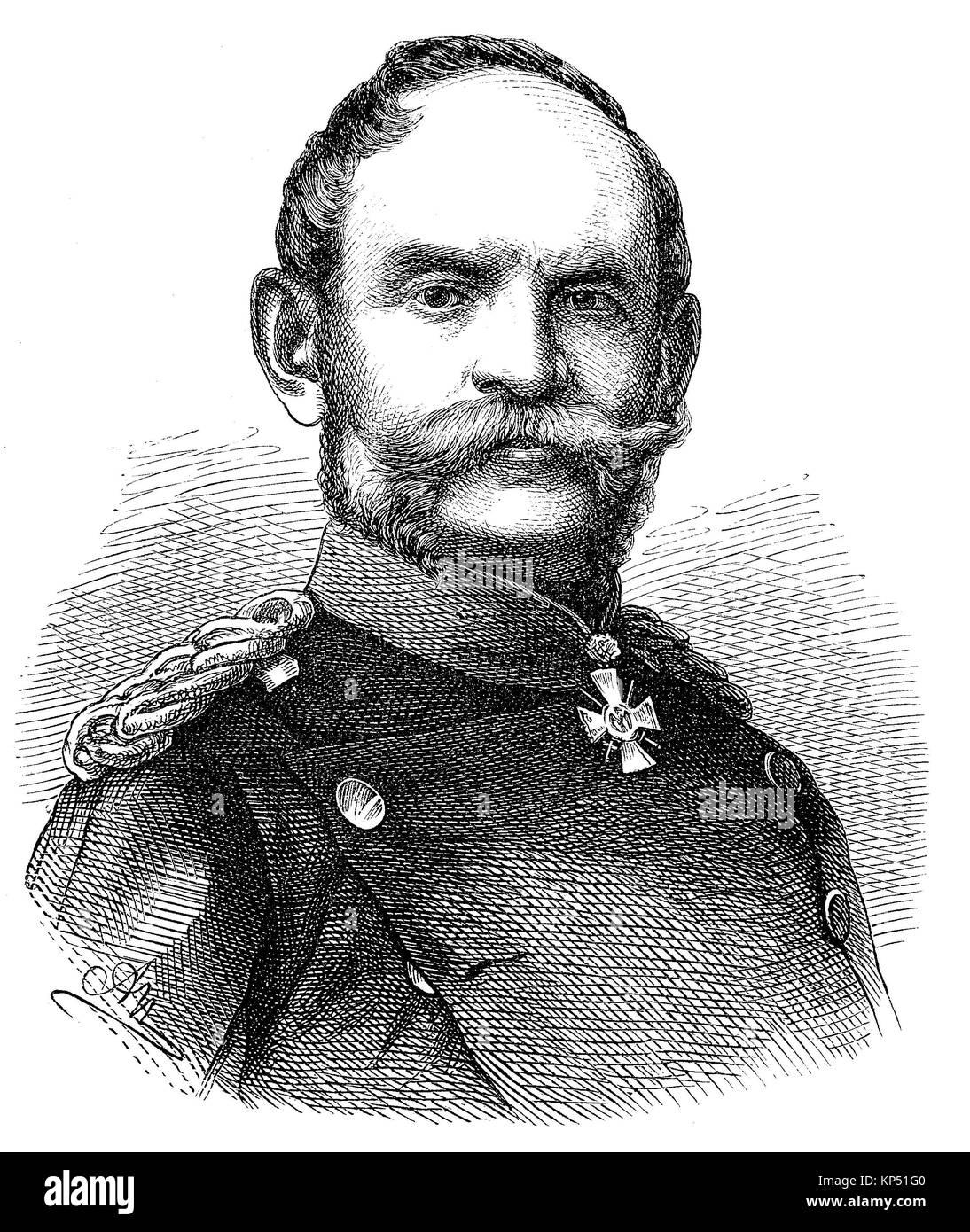 Karl Wilhelm Gustav Albert Freiherr von Rheinbaben, May 3, 1813 - November 1, 1880, was a Prussian general of the - Stock Image
