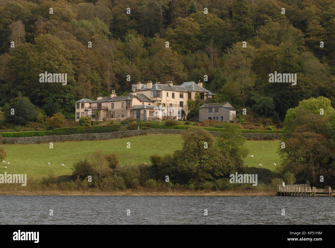 Brantwood House view from Lake Coniston - Stock Image