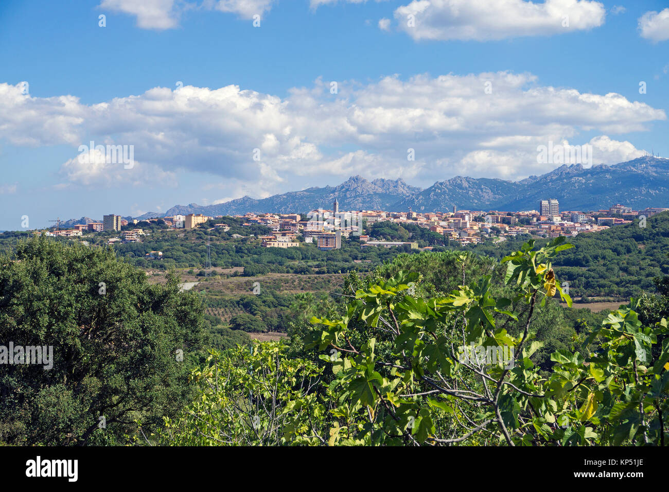 View on Tempio Pausania, town at Olbia-Tempio, Gallura, Sardinia, Italy, Mediterranean sea, Europe - Stock Image