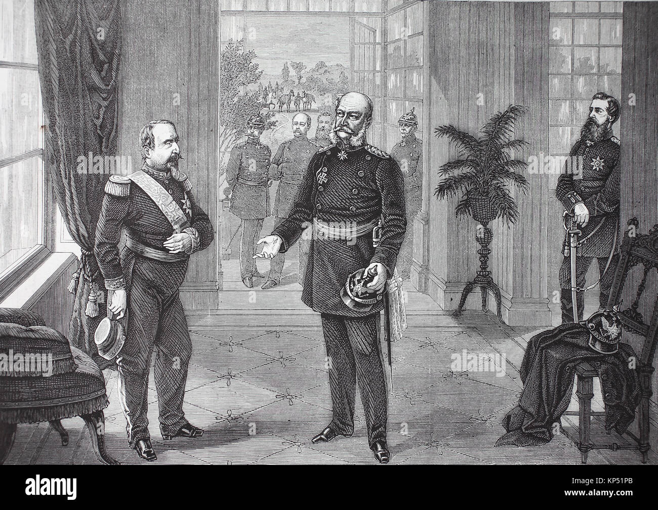 Capture of Napoleon III. by King Wilhelm in the Bellevue Castle at Sedan on September 2, 1870, France, German-French - Stock Image