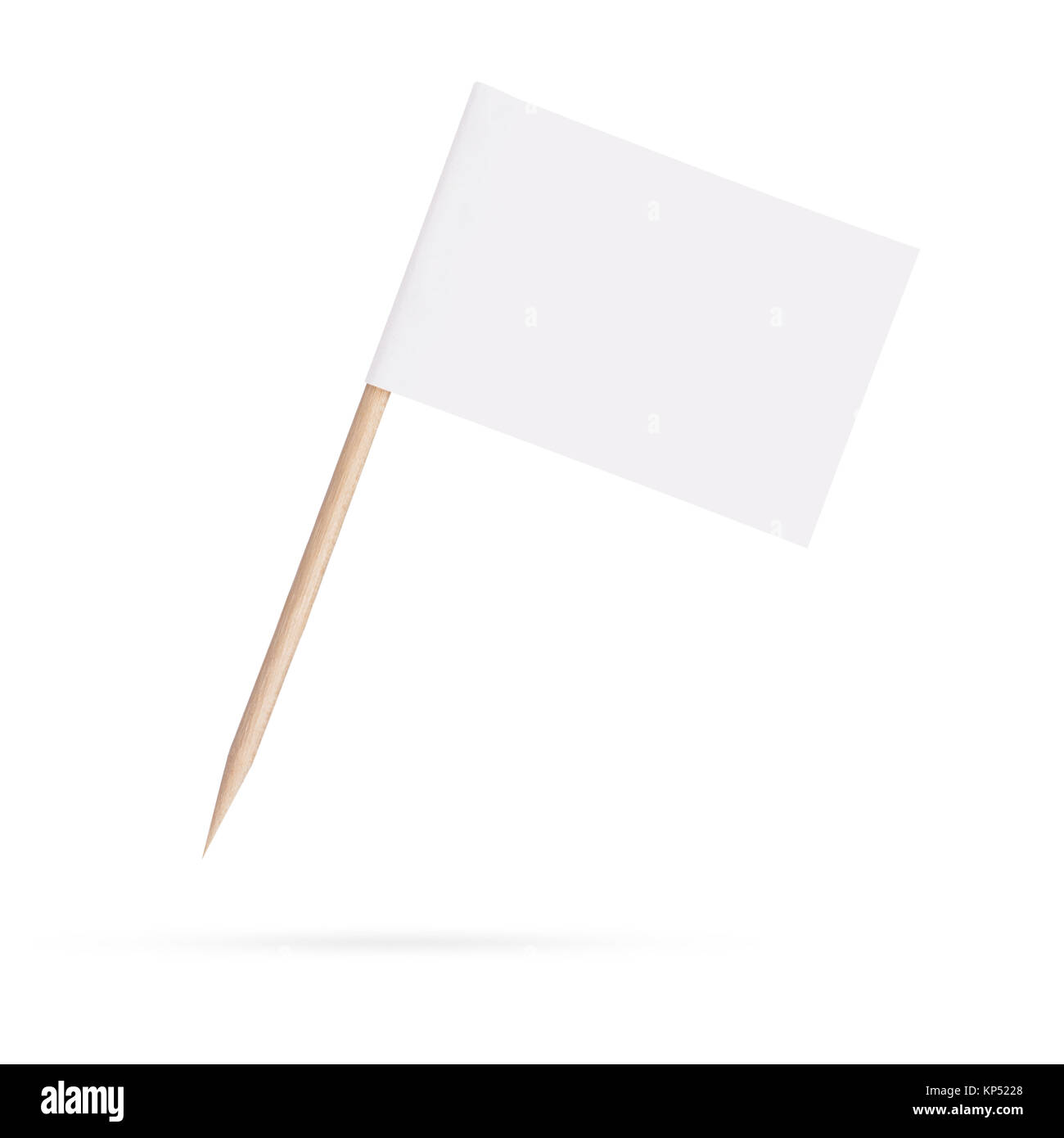 blank white flag.Isolated on white background - Stock Image