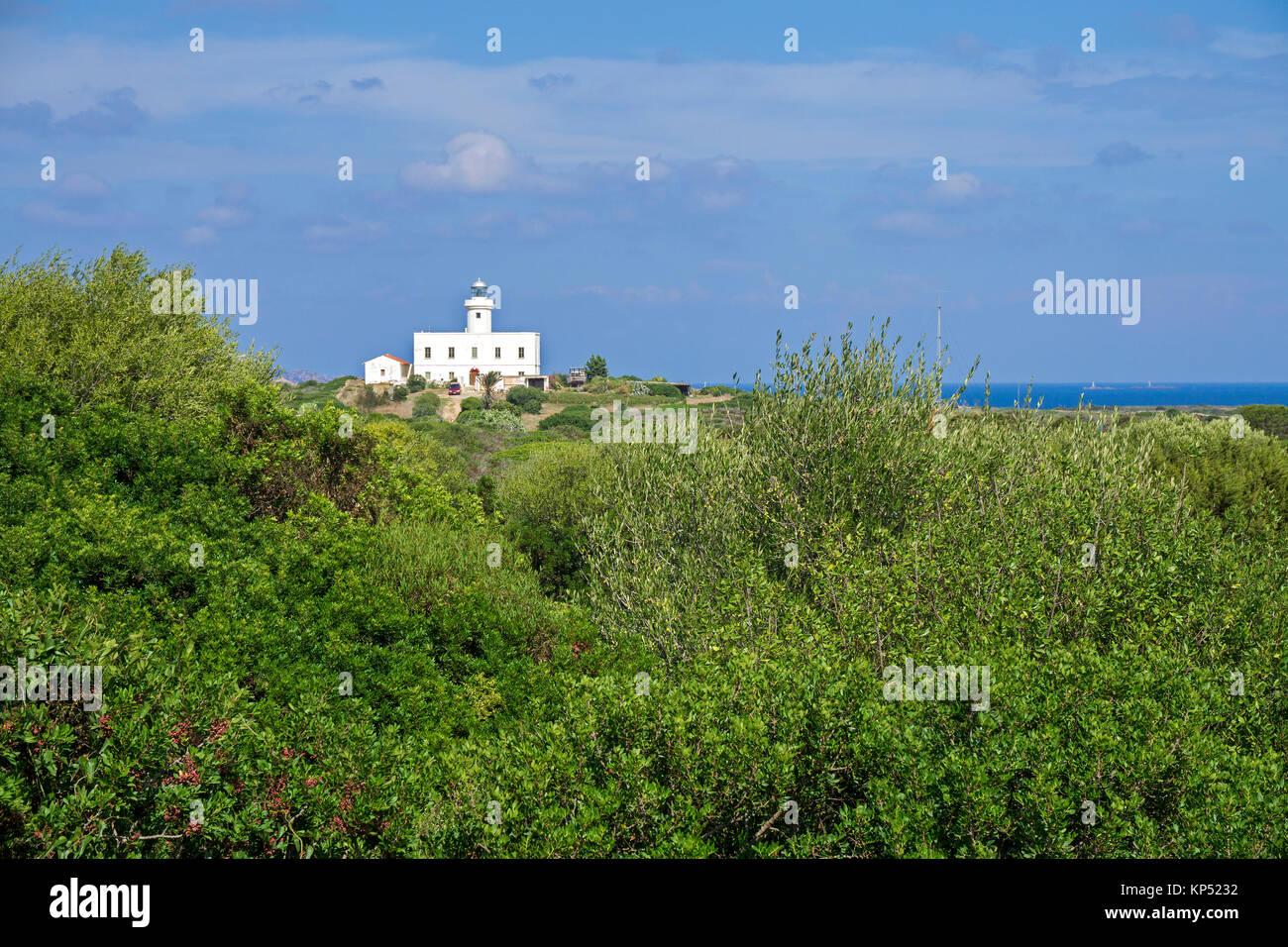 Lighthouse at Capo Ferro, Costa Smeralda, Sardinia, Italy, Mediterranean sea, Europe Stock Photo