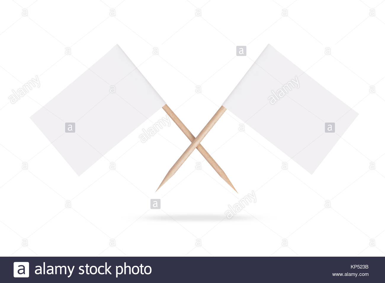 Crossed blank white flags.Isolated. - Stock Image
