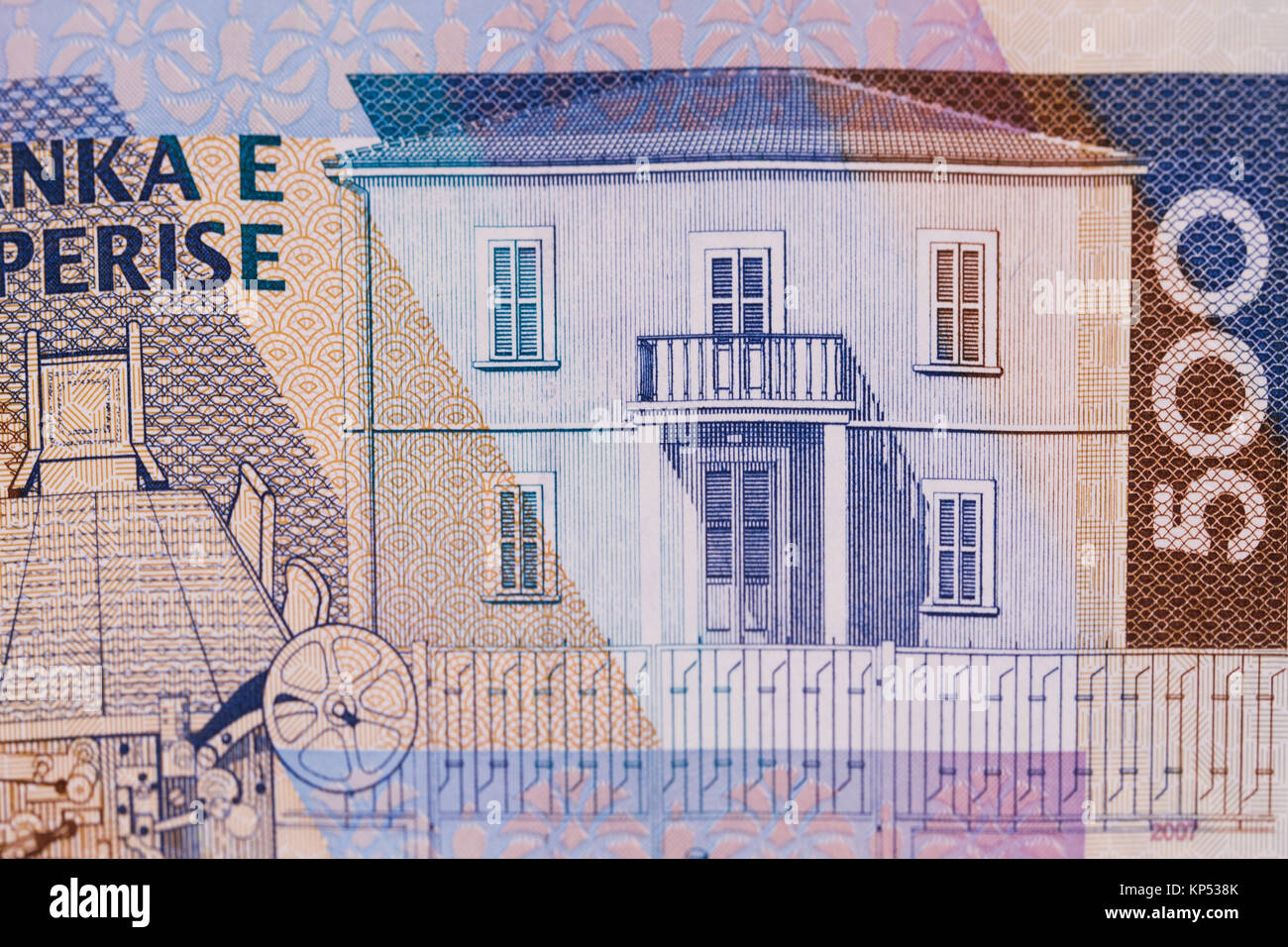 Macro close up of Albanian currency Lek banknote of 500