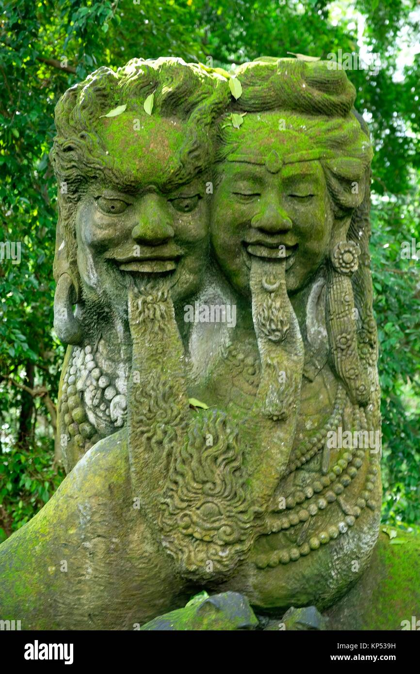 Sculpture at the Sacred Monkey Forest Sanctuary and Temple in Ubud,Bali,Indonesia. - Stock Image