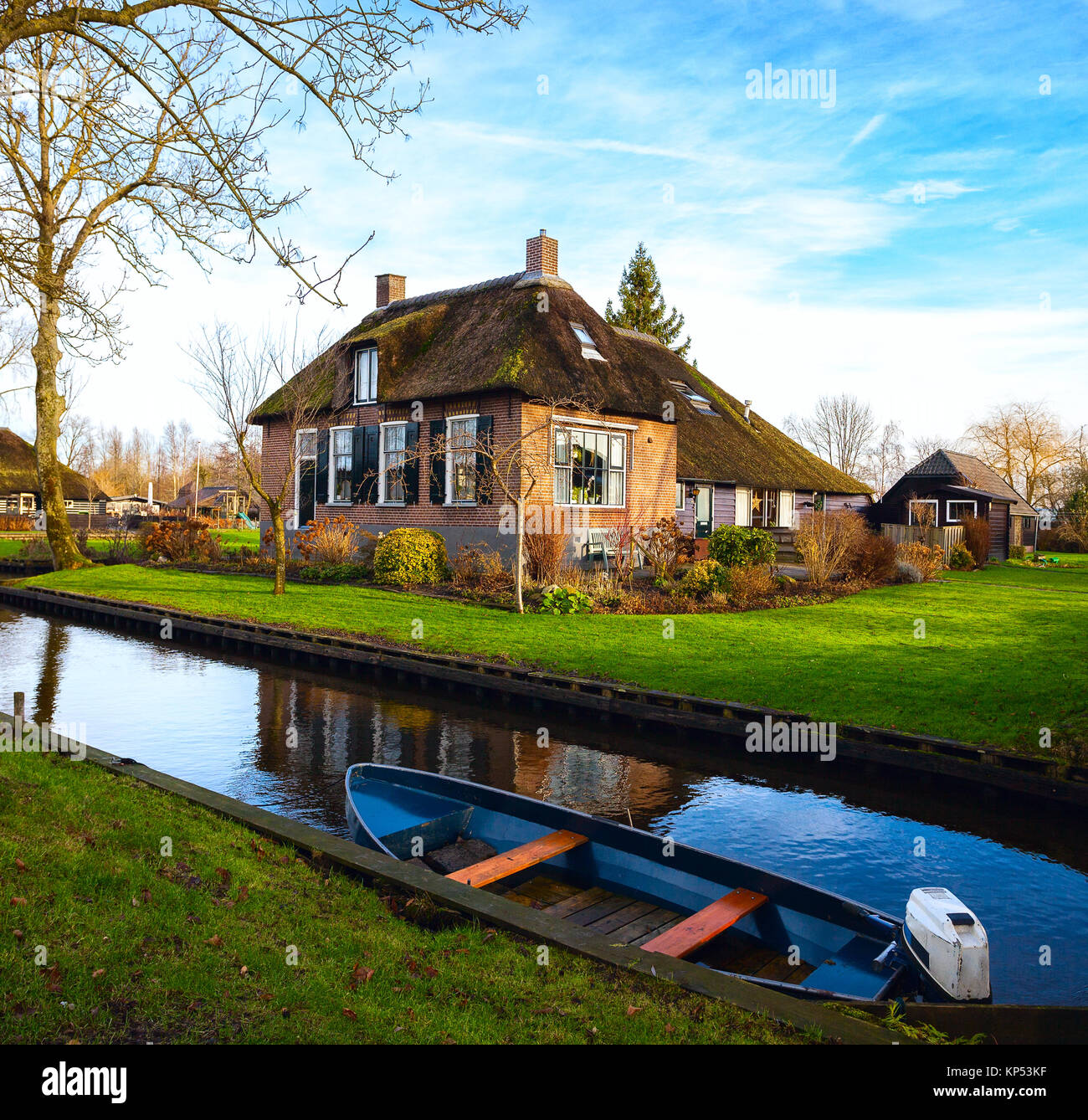 Canal In Giethoorn At Sunny Winter Morning Netherlands Stock Photo