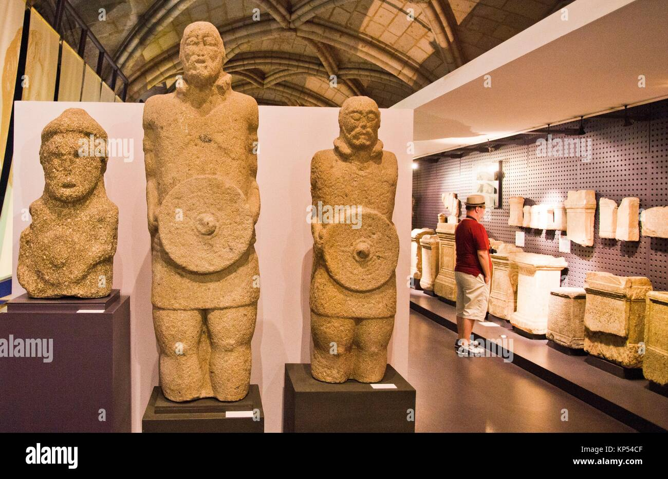 Granite Statues of warriors, Century I, Found in Monte do Castro, Capeludos, Vila pouca da Aguiar, National Archaeology - Stock Image