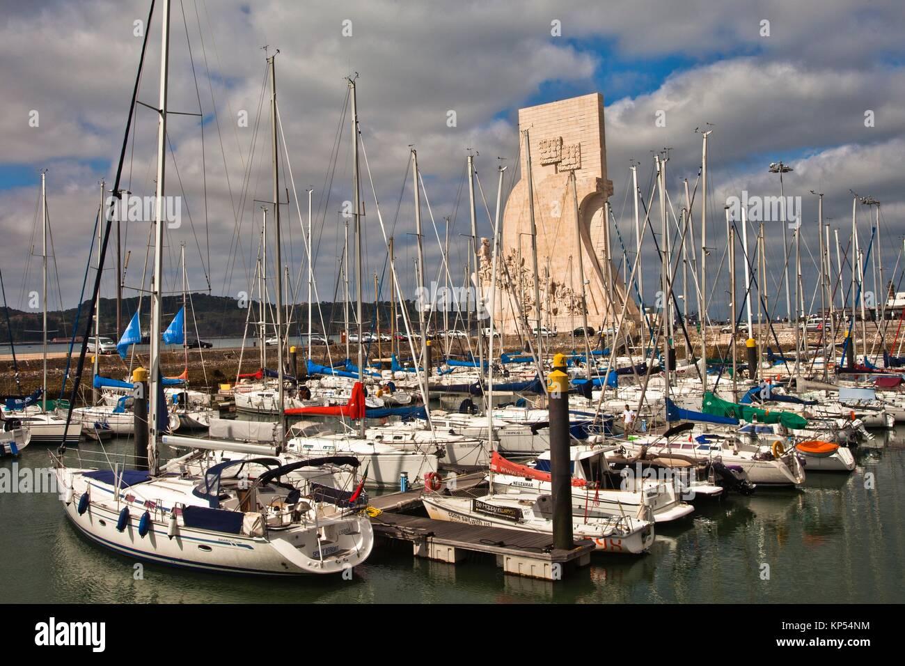 Marina de Belém harbour, on background Monument to the Discoveries, Santa Maria de Belém district, Lisbon, - Stock Image