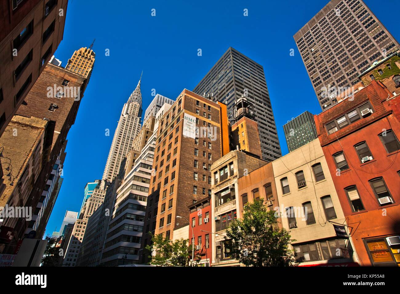 On background Chrysler Building, Midtown, Manhattan, New York City, New York, USA. - Stock Image