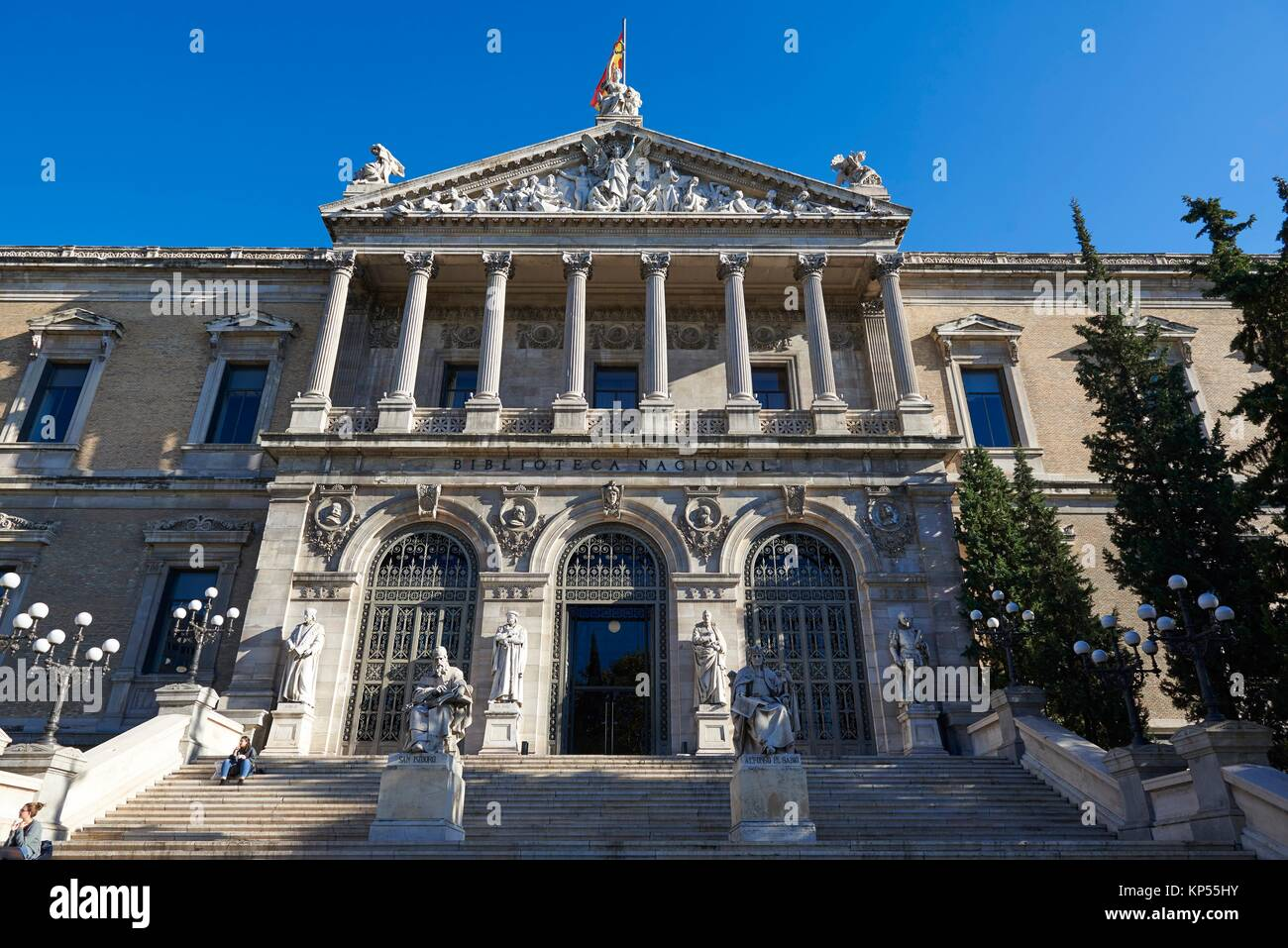 National Library of Madrid, Paseo de Recoletos, Spain. Europe, architecture and art. Stock Photo