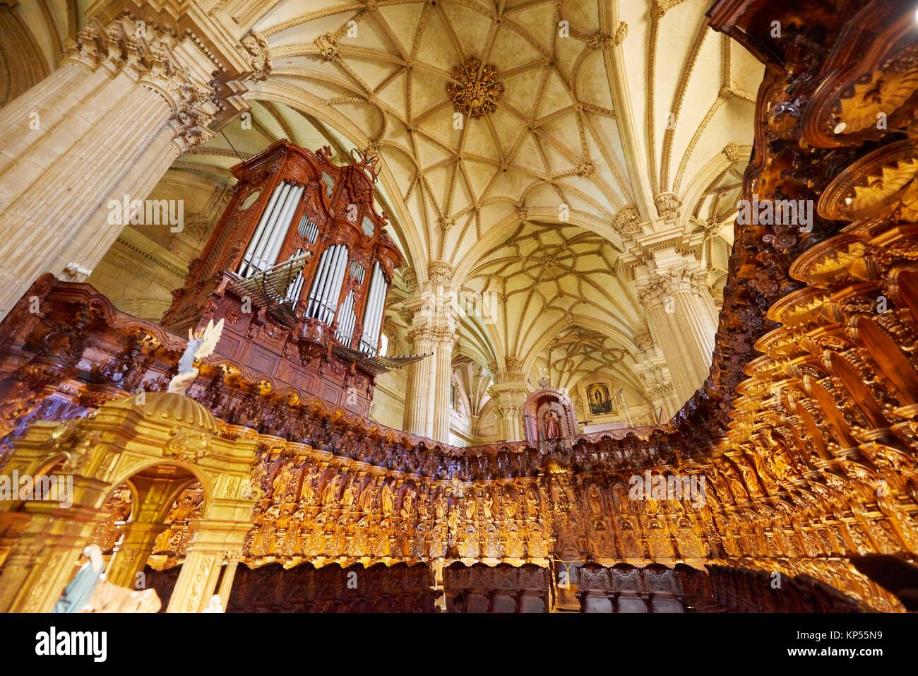 The Organ Pipe Inside of the Cathedral of Guadix province of Granada, Granada, Andalusia, Spain, Europe. - Stock Image