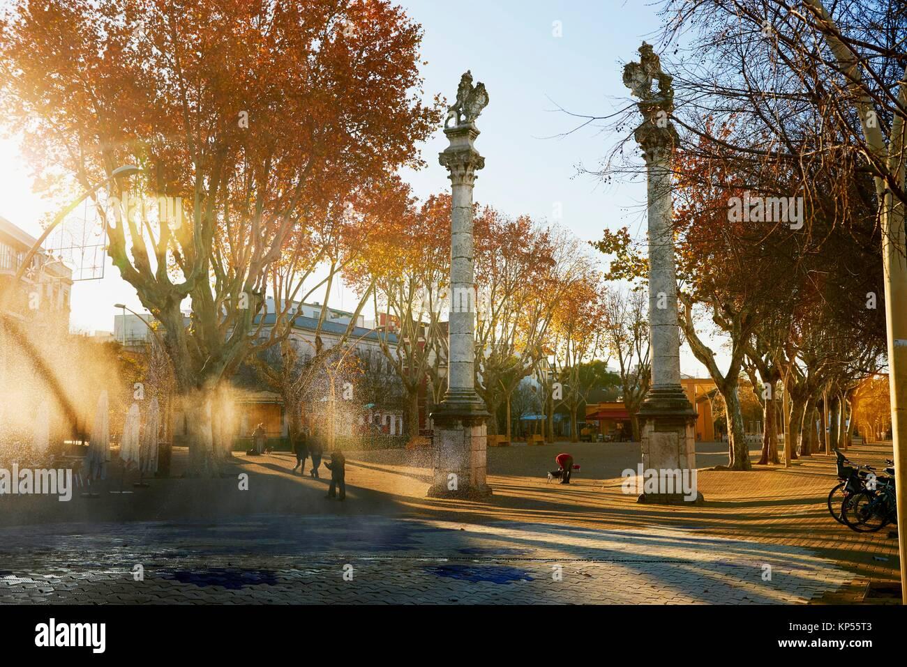 Columns of Hercules, Alameda de Hercules, Seville, Andalusia, Spain, Europe. - Stock Image