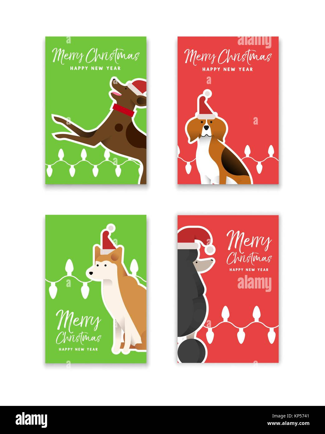 merry christmas happy new year greeting card set with funny dog illustrations in flat art style includes beagle shiba inu and poodle breeds eps10 v