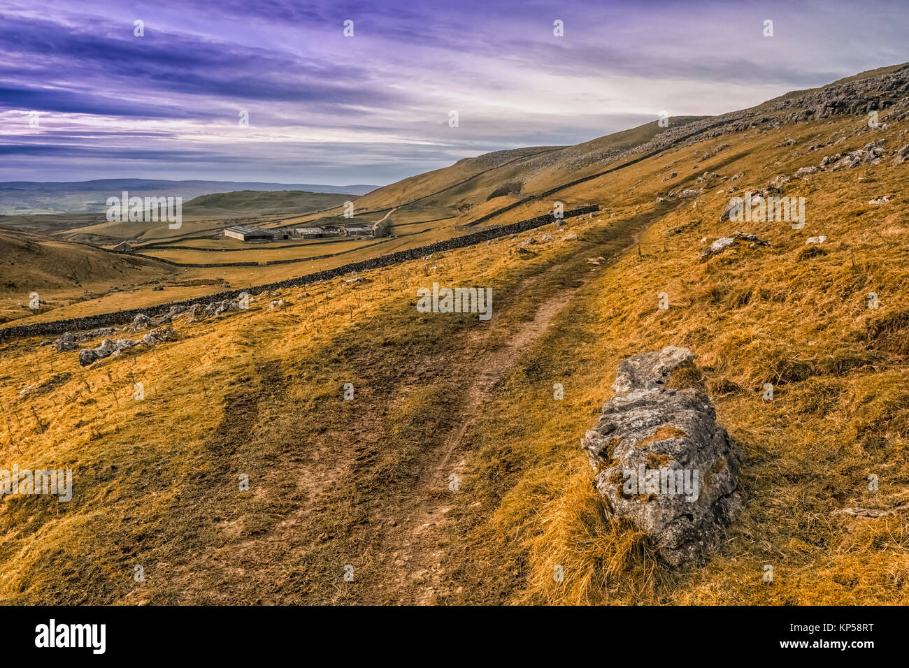 Hill walking above Settle and Malham in the Yorkshire Dales - Stock Image