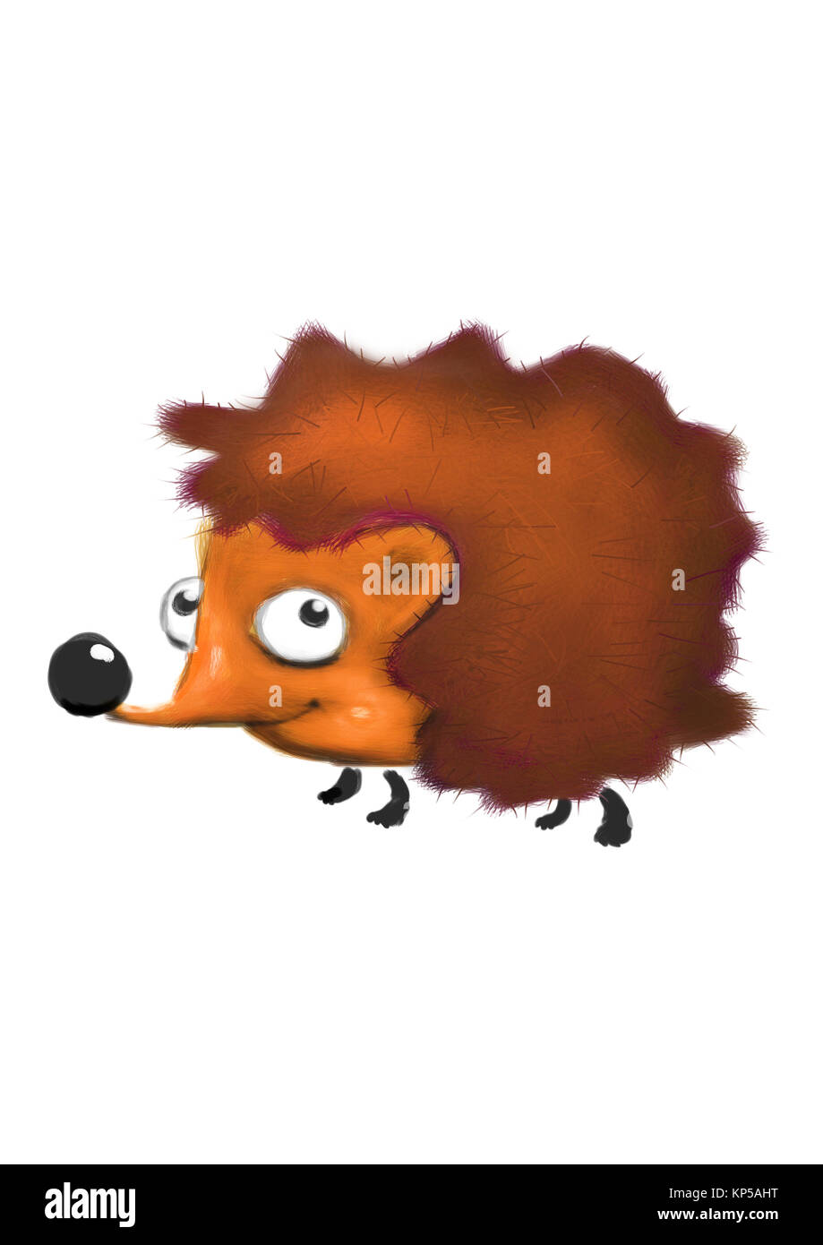 digital painting of hedgehog on a white background - Stock Image