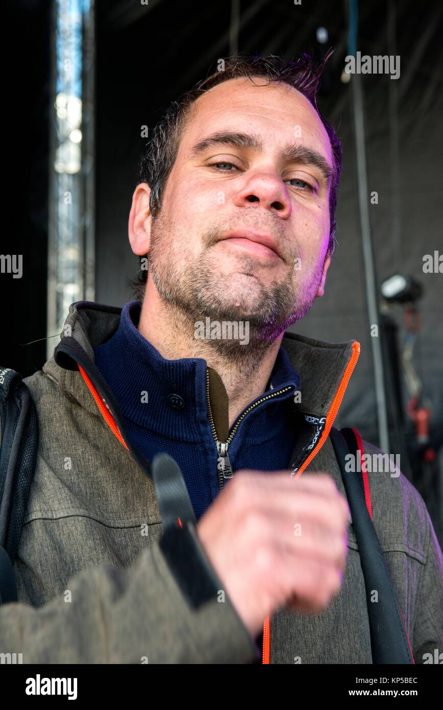 Tilburg, Netherlands.View from below ortrait of a mid adult caucasian male. - Stock Image