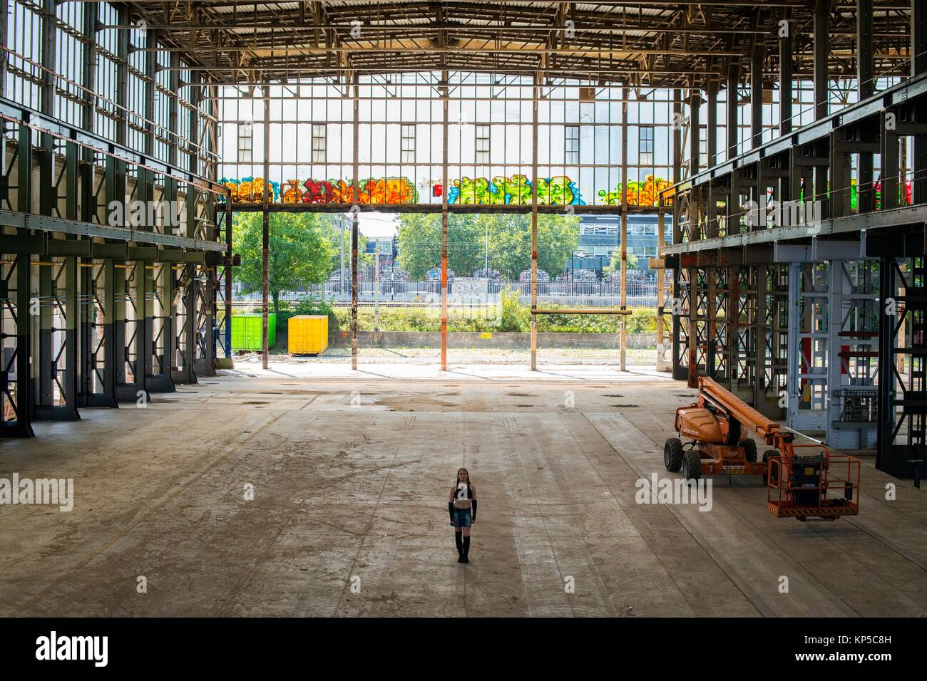 Tilburg, Netherlands. Abandoned industrial building, formerly owned by the Dutch Railways Refurbishing and Overhauling - Stock Image