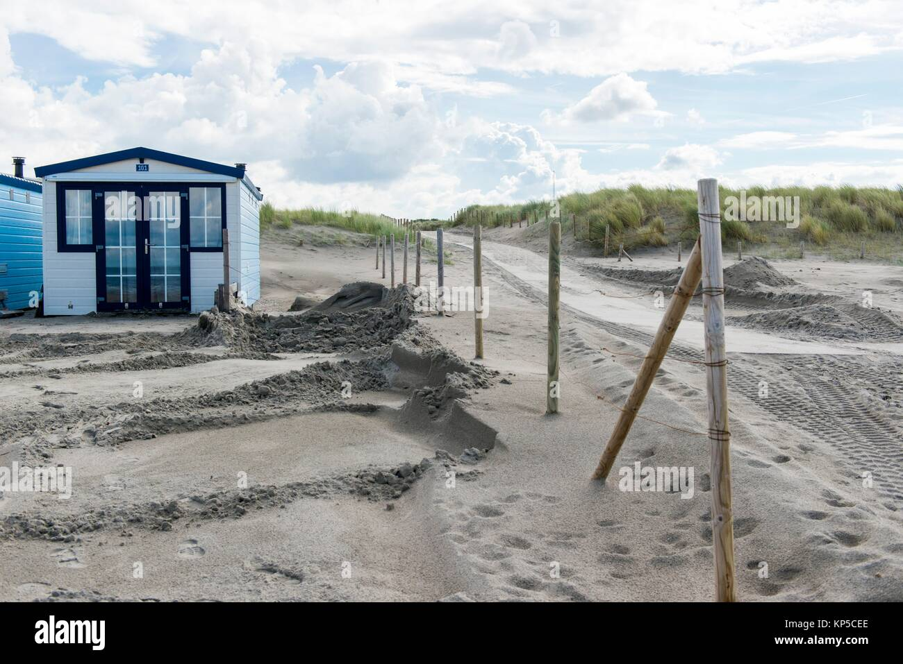 Hook of Holland Beach, Netherlands. Beach houses on the coast, with view on the North Sea and used for recreational - Stock Image