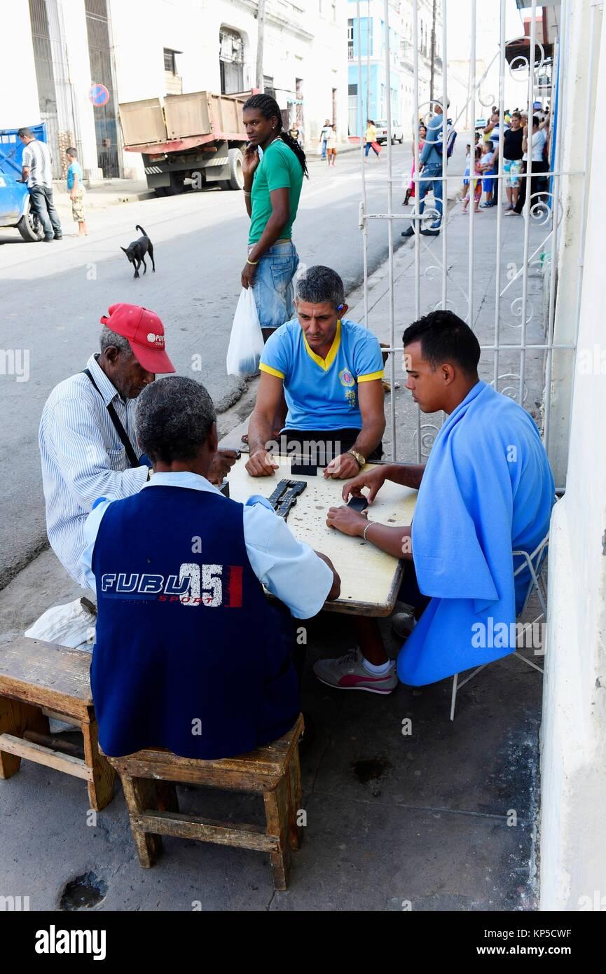 Domino players,Trinidad,Cuba. - Stock Image