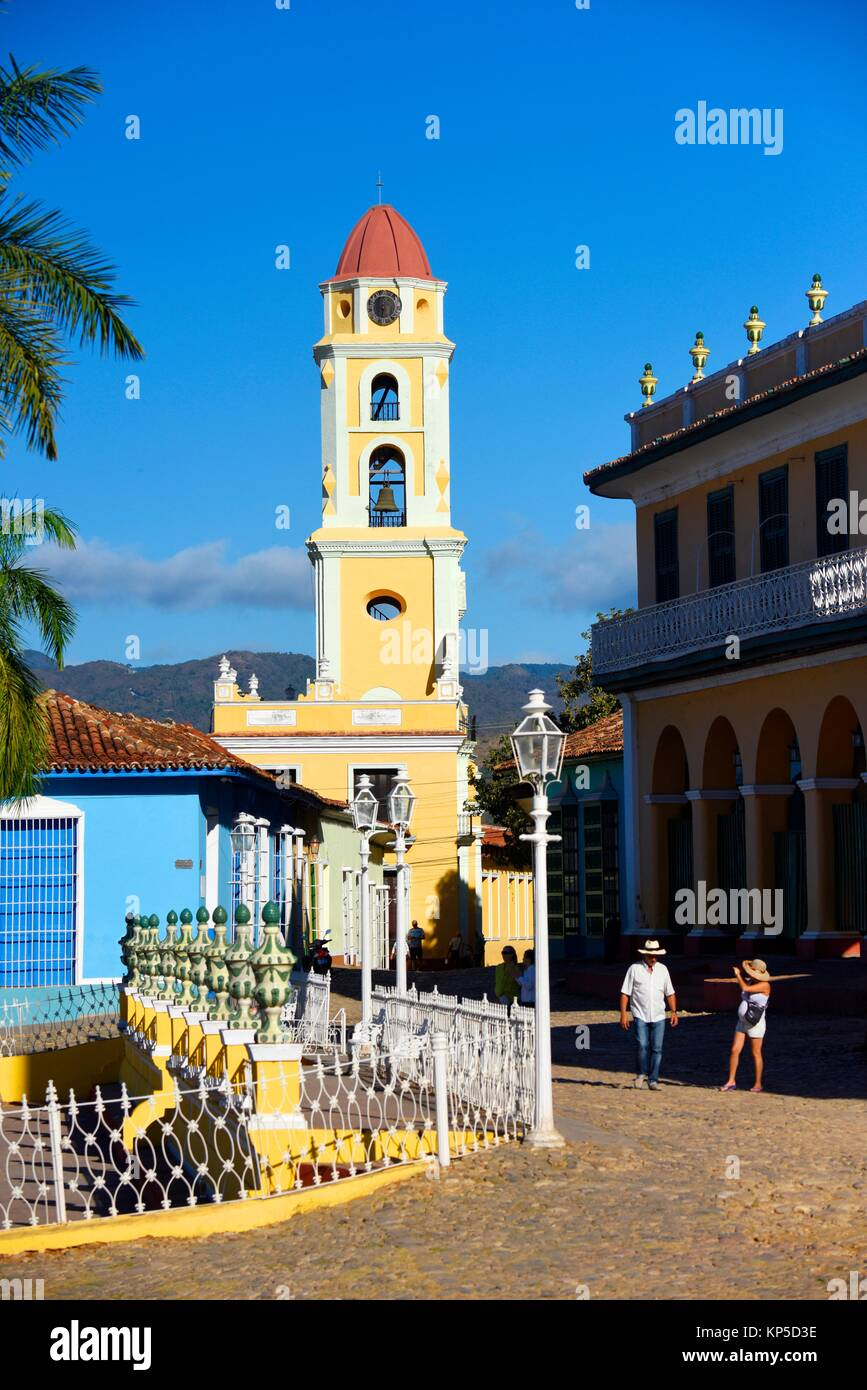 Beautiful colonial church with belltower in Trinidad,Cuba. - Stock Image