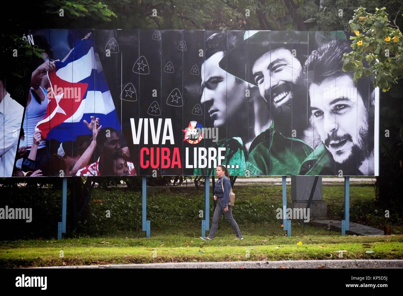 Cuban socialist billboard,Havana,Cuba. - Stock Image