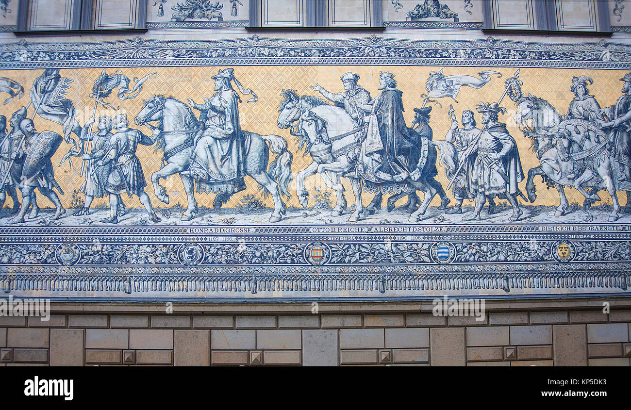 Furstenzug is a giant mural decorates the wall - Stock Image