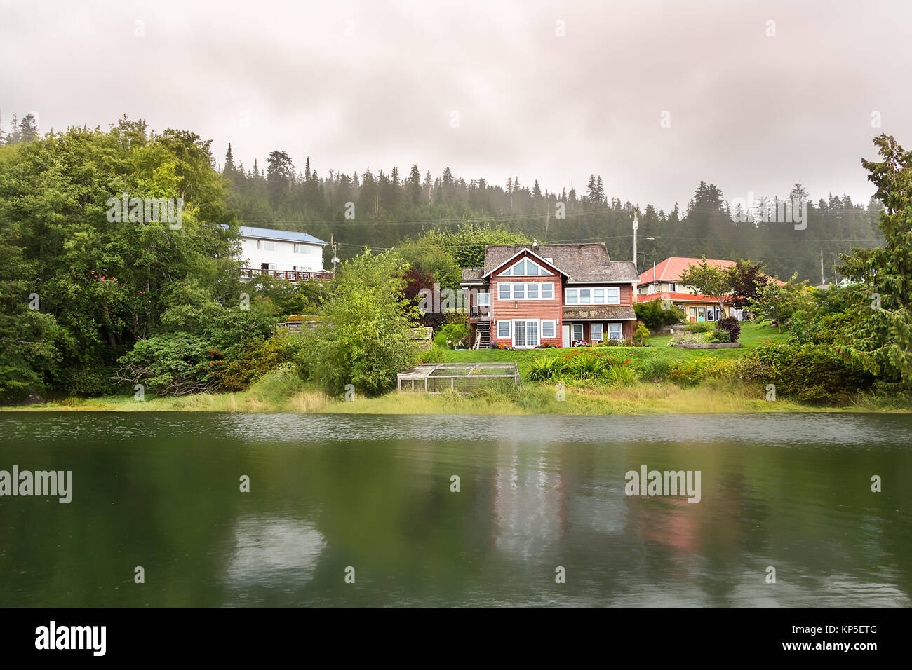 View of Houses at Oceanview Dr road in Queen Charlotte Island - Stock Image