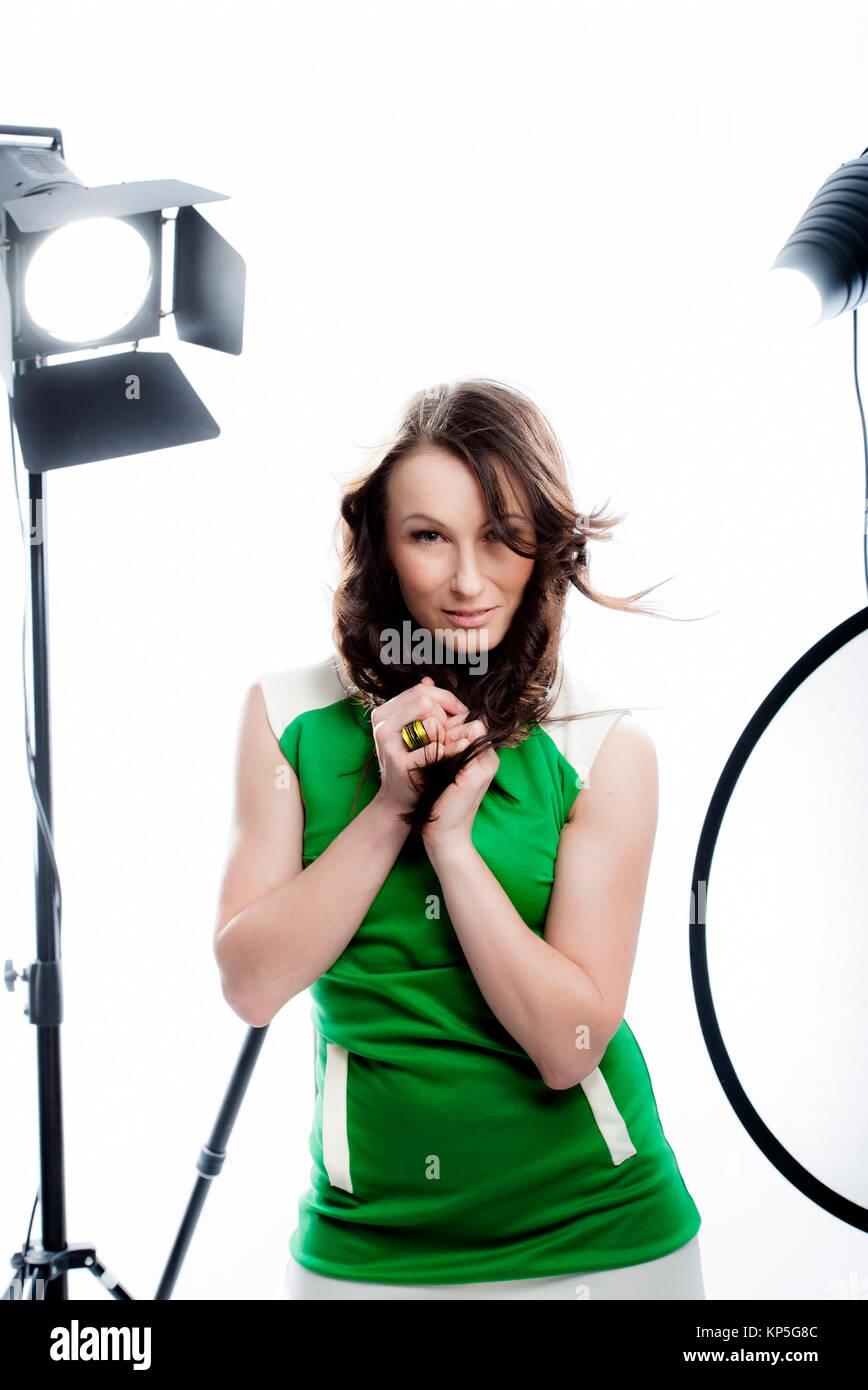 Model posiert im Fotostudio - model in photo studio Stock Photo