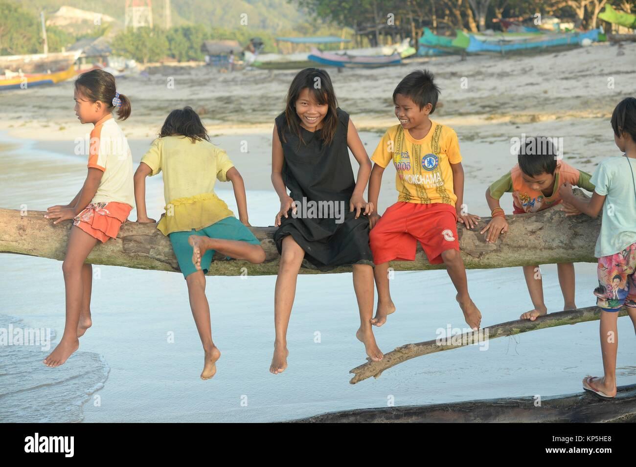 Group of children sitting in tree at beach,Kuta Beach,Lombok island,Indonesia. - Stock Image
