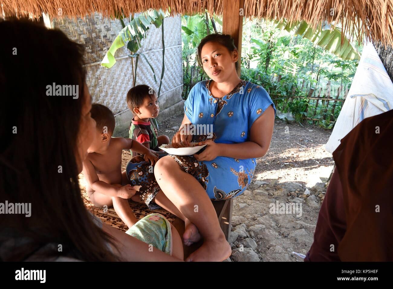 Indonesian family ,Sasak village,Sade,Lombok island,Indonesia. - Stock Image