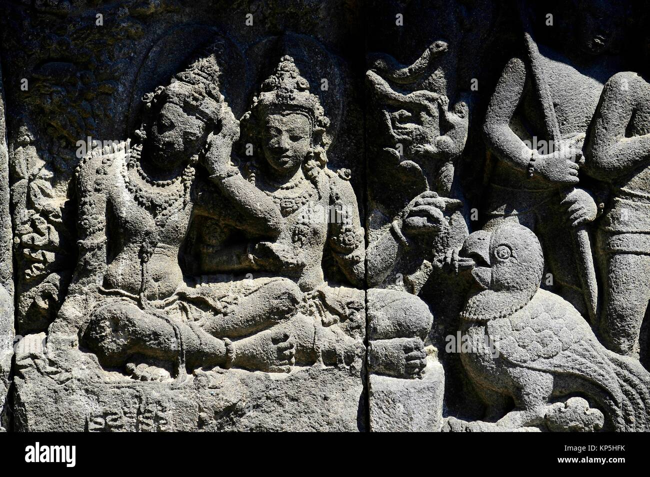 Relief panel of Prambanan Temple,Central Java, Indonesia. - Stock Image