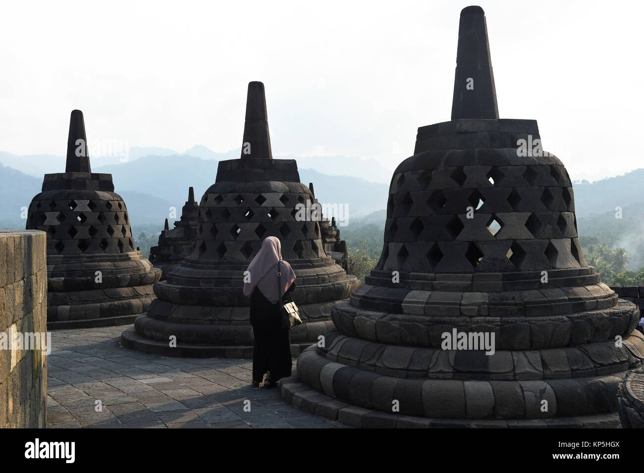 Borobudur buddhist temple,Central Java,Indonesia. - Stock Image