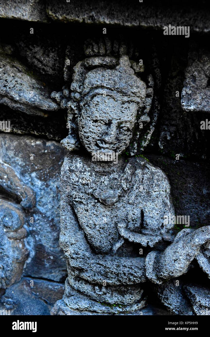 Bas-relief carving,Borobudur,Central Java,Indonesia. - Stock Image