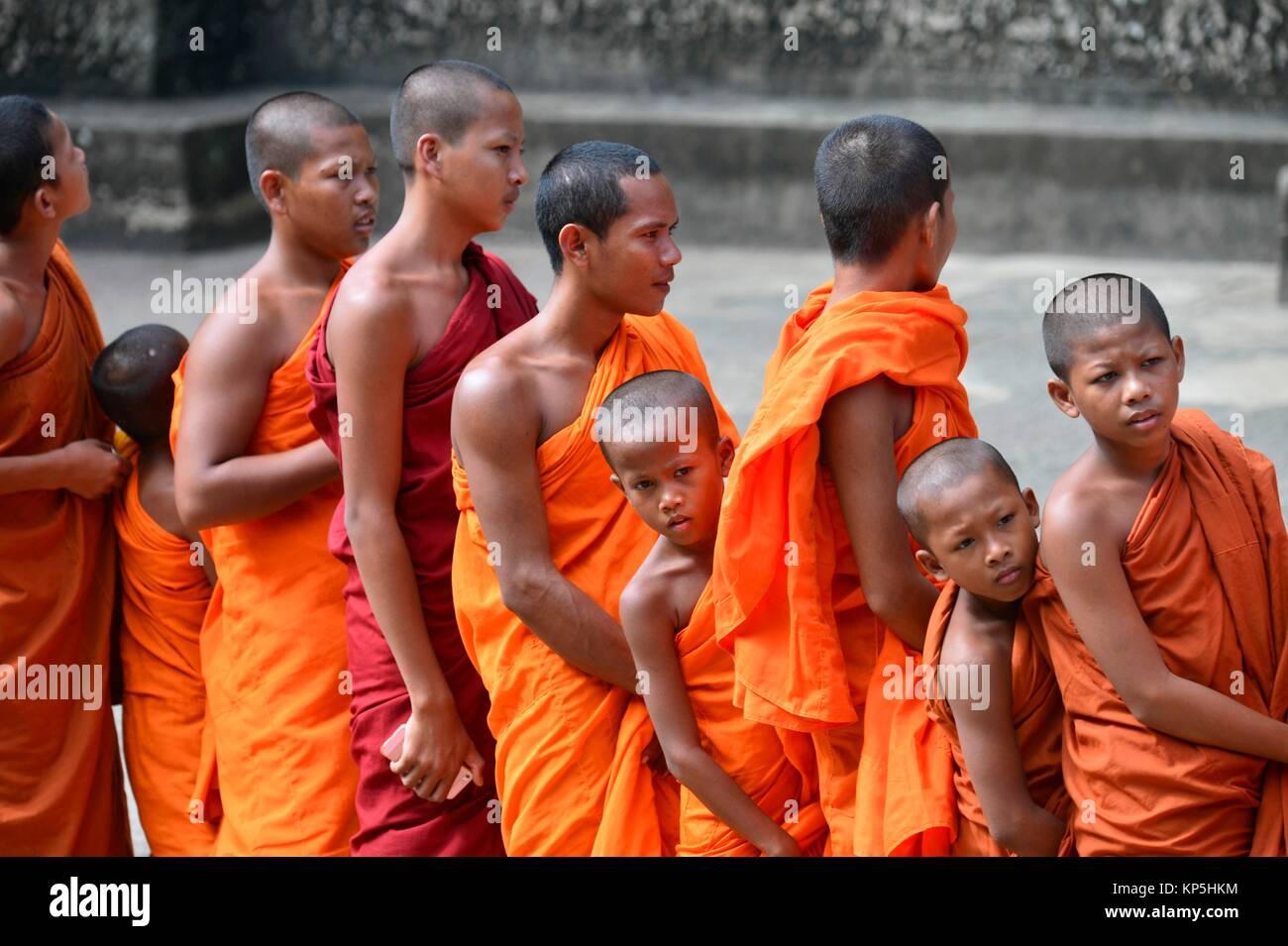 Buddhist monks,Angkor Wat, Cambodia,Indochina,Southeast Asia,Asia. - Stock Image
