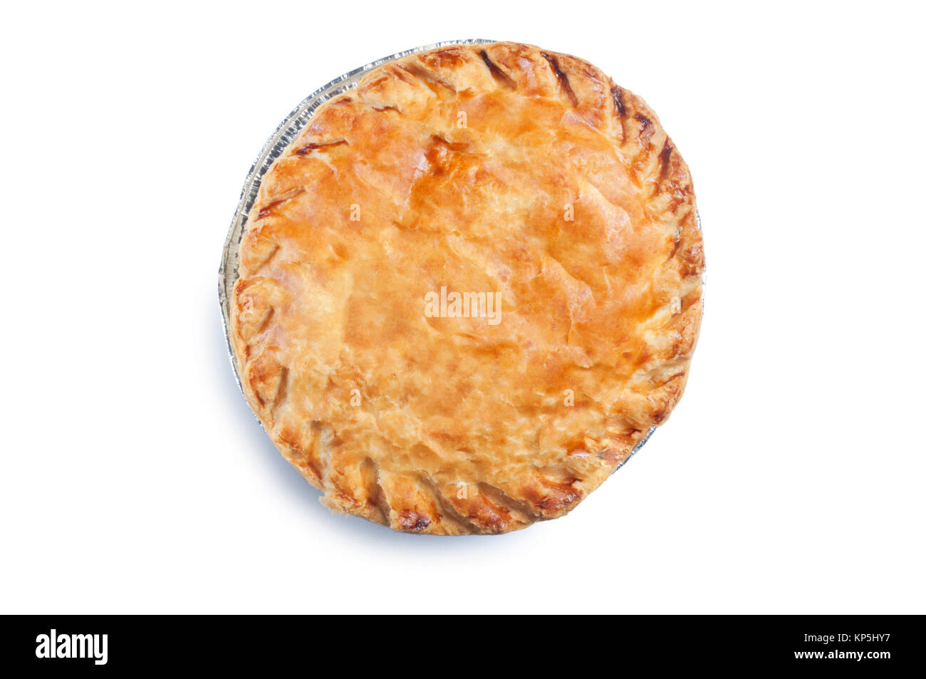 Single, cooked, meat pie isolated on white - John Gollop - Stock Image
