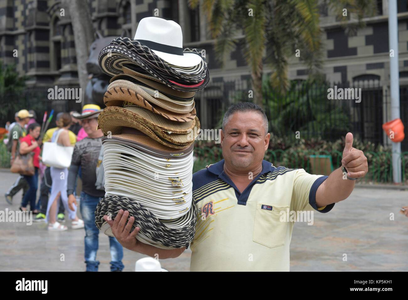 Colombian hat salesman,Medellin,Colombia,South America. - Stock Image