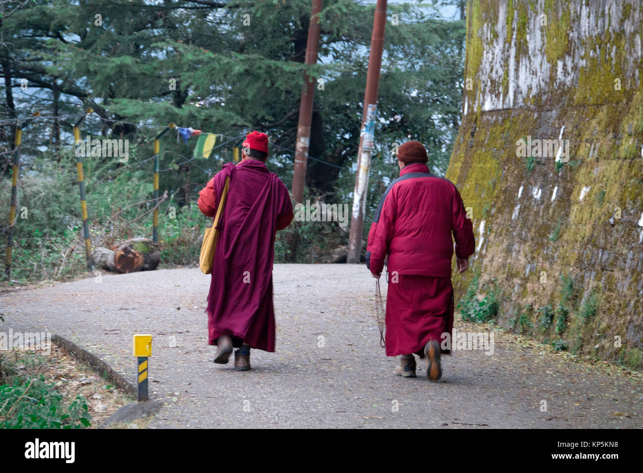 Buddhist monks walking along road at Mcleod Ganj, Himachal Pradesh, India - Stock Image