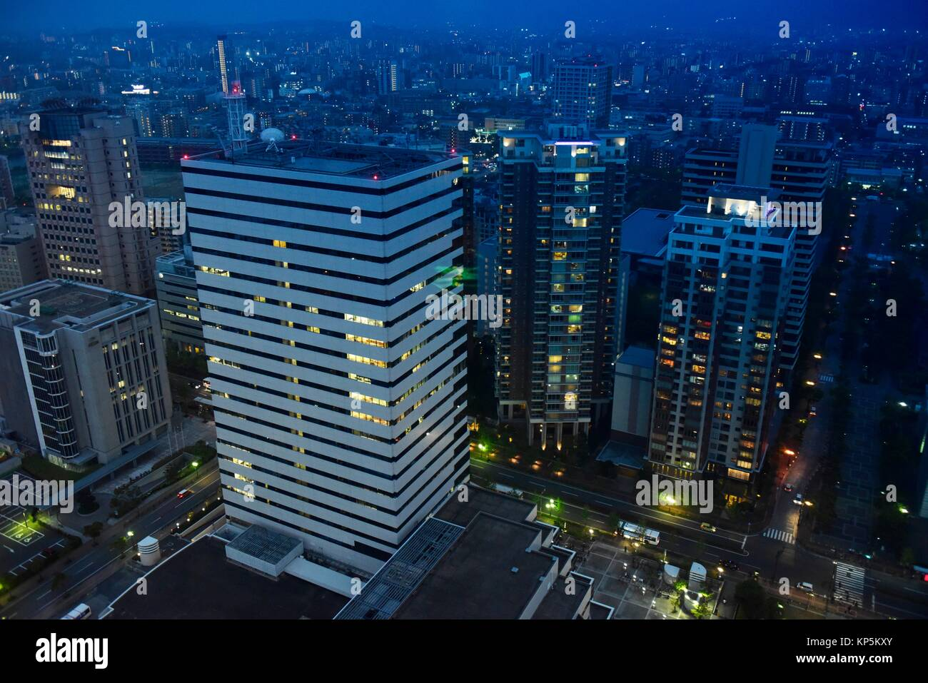 Cityscape of Fukuoka by night, Kyushu, Japan,Asia. - Stock Image