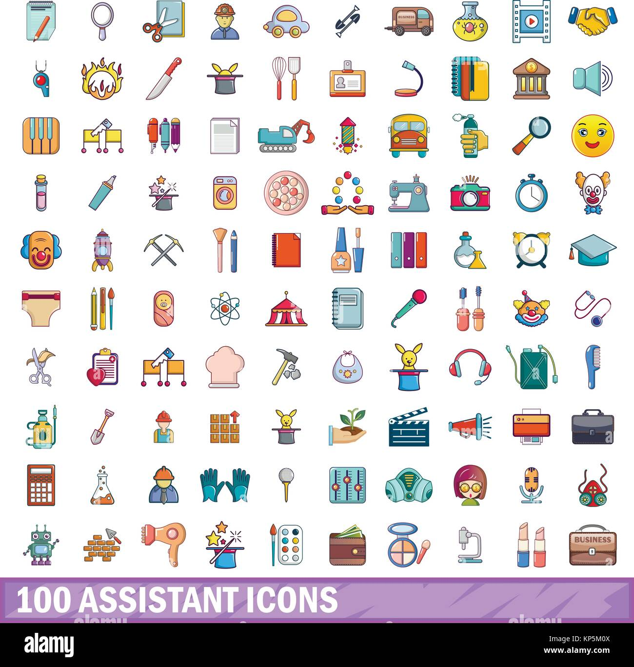 100 assistant icons set, cartoon style  - Stock Image