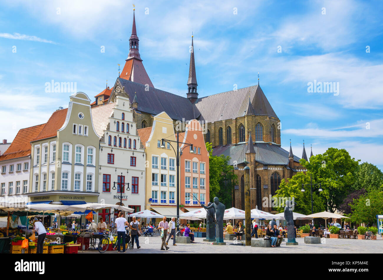 Gabled houses around New Market Square in Rostock. Mecklenburg-Western Pomerania, Germany Stock Photo
